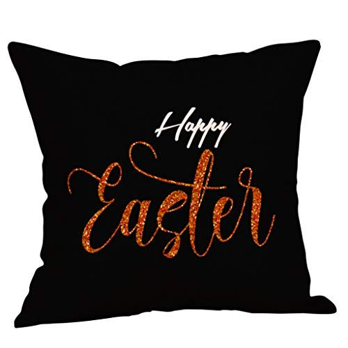 Happy-day Osterdekorationen Eiermuster Baumwolle Leinen Kissenbezug Überwurf Kissenbezug Home Decor 45x45cm, Flax, schwarz 1,