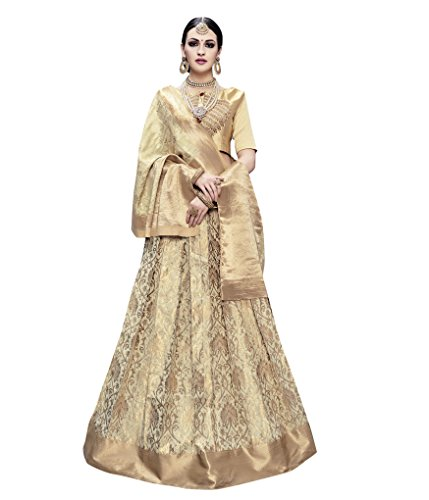 RK Exports Women Stylist Lehenga Choli Banarasi Silk Beige Color Designer Dress