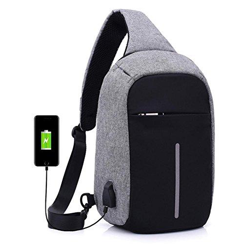 Mochila Crossbody Empaqueta Bolso de Escuela Antirrobo Cuaderno con Puerto de USB por ESAILQ