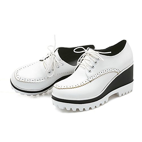 AgooLar Damen Schnüren Pu Leder Rund Zehe Hoher Absatz Rein Pumps Schuhe Weiß