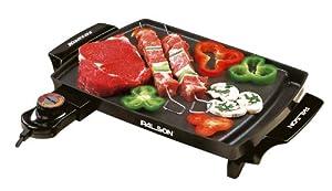 Palson 30457 Kansas - Plancha Cocina 1000W, 23 X 31,5, Superficie Antihaderente, Termostato, Apta Lavavajillas, Asas Toque Frio. Negro. de Palson