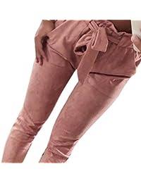 Elecenty Pantaloni Donna Eleganti Casual Pantaloni a vita alta con elastico  da donna fiocco Estivi Taglie Forti… f1da557230b