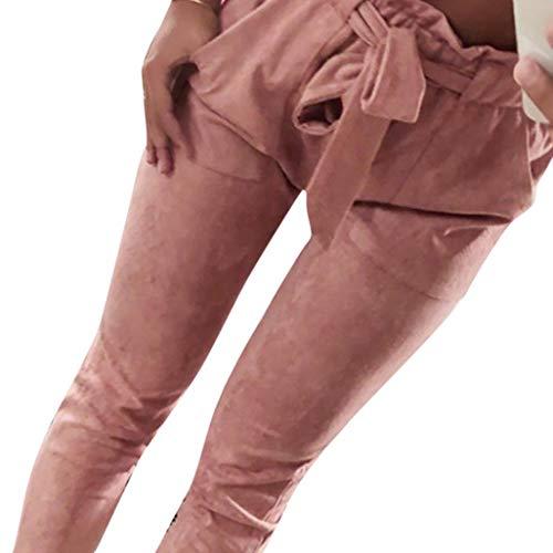 Elecenty pantaloni donna eleganti casual pantaloni a vita alta con elastico da donna fiocco estivi taglie forti eleganti leggeri palazzo