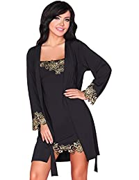 b9c3a5cbcd1d Livia Corsetti Fashion Dressing Gown and Nightdress Nightshirt Womens Set  Lingerie Black Loreli
