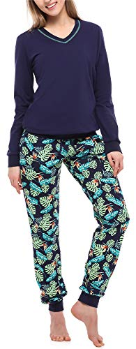 Merry Style Damen Schlafanzug MS10-230 (Marineblau/Blätter, S)