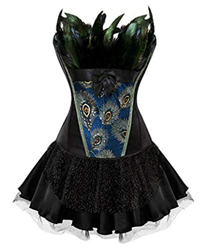 Burlesque Pfau Pattern Korsett Corsage Halloween Karneval Kostüme (EUR(32-34) S, Schwarz-Schwarz) (Das Halloween-kostüm Schwarze Korsett Für)