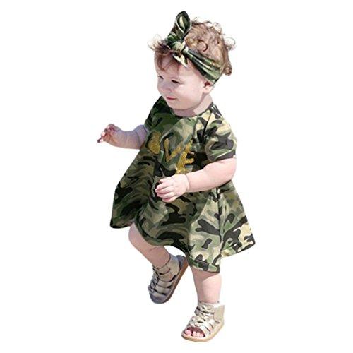 QinMM 2 Stücke Baby Mädchen Kinder Camouflage Kleid + Stirnband Kleidung Sommerkleid Casual Set Sommer Outfits 6 Mt-3 T (6M, Tarnung) -