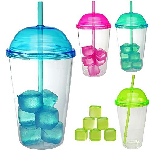 4 Stück _ große XL - Becher - mit 6 Eiswürfel & Trinkhalm & Deckel - Farb-Mix - 600 ml - transparent & durchsichtig - Trinkbecher - aus Plastik / Kunststoff -.. ()