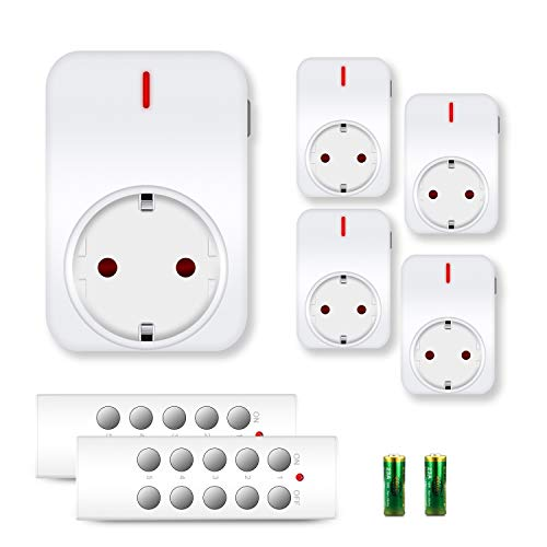funksteckdosen set benon B2112 Funksteckdosen-Set mit Fernbedienungen, 5er Set, 2300W für Licht & Haushaltsgeräte, bis 30m Reichweite