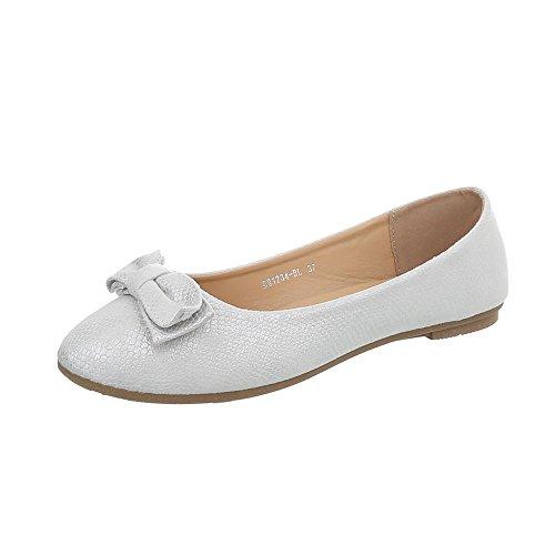 Ital-Design Klassische Ballerinas Damen-Schuhe Flach Silber, Gr 37, Bh1234-Bl-