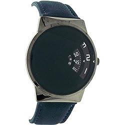 Softech Gents Modern Rotating Black Jump Hour Dial Dark Teal PU Strap Watch J648