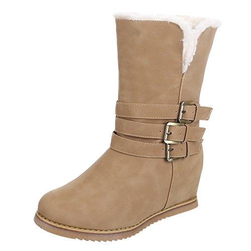 Damen Schuhe, IR-326, STIEFELETTEN WARM GEFÜTTERTE BOOTS Hellbraun 1