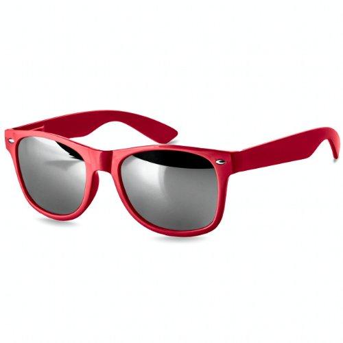 CASPAR - Lunettes de soleil stylées pour homme avec verres miroir et monture flexible - plusieurs modèles - SG035, Farbe:schwarz / multicolor verspiegelt