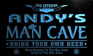 pb283-b Andy's Man Cave Cowboys Bar Neon Light Sign Barlicht Neonlicht Lichtwerbung