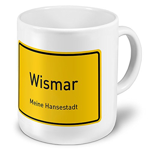 XXL Jumbo-Städtetasse Wismar - XXL Jumbotasse mit Design Ortsschild - Städte-Tasse, Städte-Krug, Becher, Mug