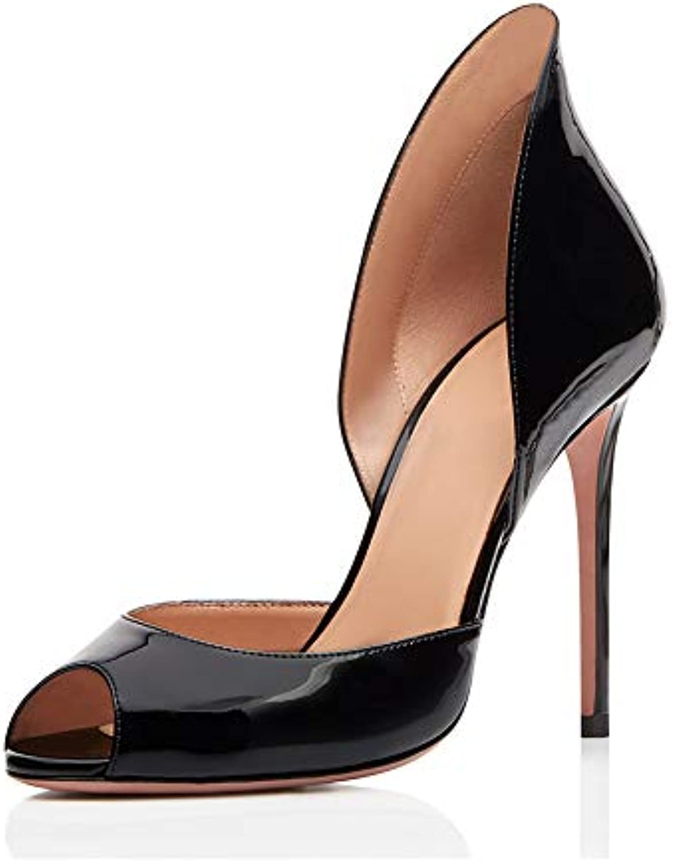 Tacco Alto Sexy Peep Toe,MWOOOK-479 Donna Donna Donna Partito Discoteca Scarpe Pompe Taglia 34-45,nero,37 | Aspetto estetico  b851bb