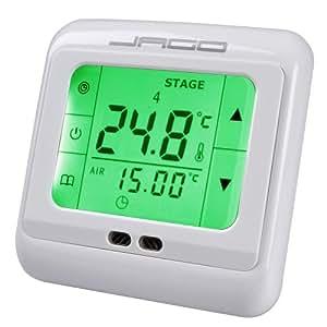 Jago - Thermostat Programmable Régulateur de Température Ambiante à Écran LCD Tactile (Quantité au Choix)