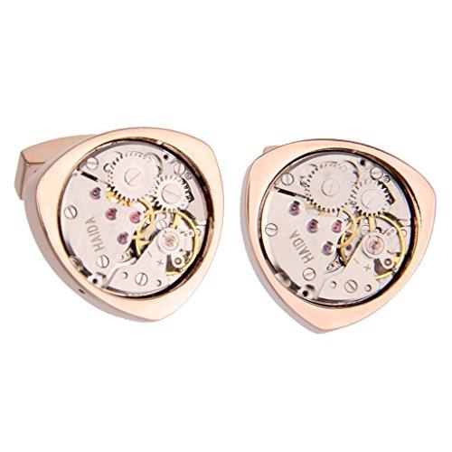 1 Paar Vintage Steampunk Uhrwerk Dreiecks Manschettenknöpfe - Rotgold