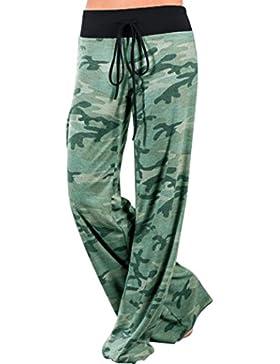 FAMILIZO Mujeres Floral Impreso Cordón Pantalón Amplio Pantalones Leggings