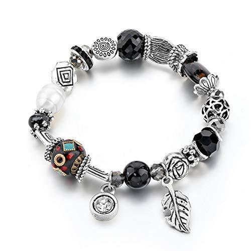 YCWDCS Armband Großhandel Big Bead DIY Charm Bead Edelstahl Boho Armband für Frauen mit Tree Leaf Bracelet & Bangles