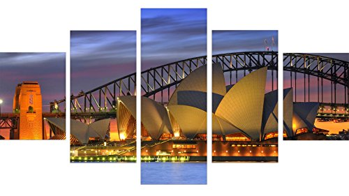 WKWKFML Moderne Leinwand Gemälde Harbour Bridge Bild Wall Art Sydney Landschaft Home Dekoration für Wohnzimmer Einrichtung 5 Stück, 40 x 60 40 x 80 40 x 110 cm.
