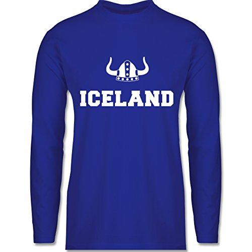 Länder - Iceland + Wikingerhelm - Longsleeve / langärmeliges T-Shirt für Herren Royalblau