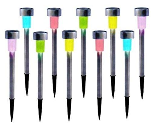 GardenKraft 19820 Stainless Steel Solar Marker Path LED Light - Multi-Colour (Pack of 10)