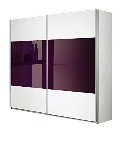 Rauch Schwebetürenschrank Weiß Alpin 2-türig, Glas Absetzung Brombeer, BxHxT 136x230x62 cm