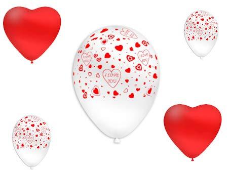 San valentino pallone foil cuore supershape forma cuore kit bouquet centrotavola festa amore innamorati - cdc - (10 palloncini a forma di cuore rosso,10 palloncini bianchi con scritta i love you)