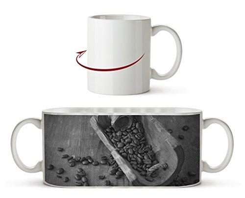 geröstete Kaffeebohnen Effekt: Schwarz/Weiß als Motivetasse 300ml, aus Keramik weiß, wunderbar...