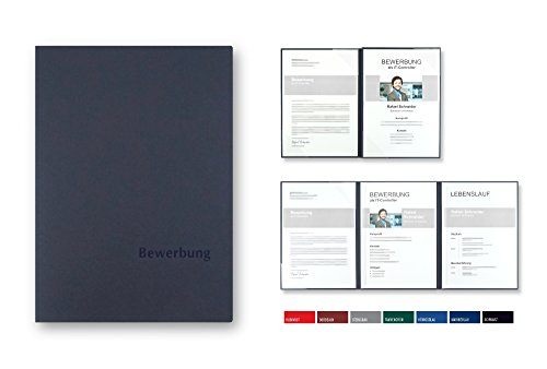 5 Stück 4-teilige Bewerbungsmappen BL-exclusivdruck® MEGA-plus in Marineblau - Premium-Qualität mit edler Relief-Prägung 'Bewerbung' - Produkt-Design von 'Mario Lemani'