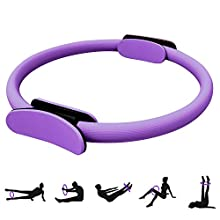 HebyTinco Double Handle Pilates Yoga Ring, 15 Inch Dual Grip Magic Exercise Fitness Circle to Burn Fat, Lightweight Professional Yoga Circle for Toning Abs,Thighs and Legs (Purple)