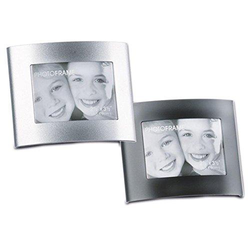 Hc-handel 914496-3 cornici portafoto curve in metallo, 6 x 9 cm, colore: argento/nero