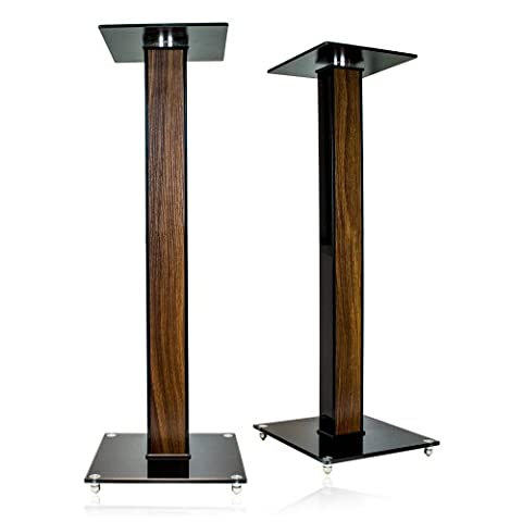 minify Pair of High Gloss Speaker Stands with Decorative Wood Inlay of your Choice