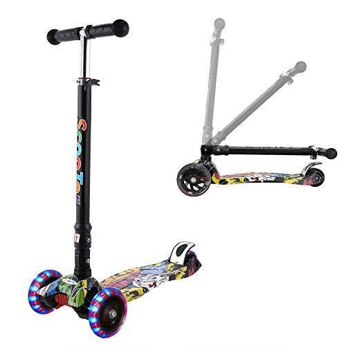 WeSkate Kinder Scooter Kinderroller höhenverstellbarer und Abnehmbarer Lenker Tret-Roller mit 4-PU blinkenden LED Rollen Graffiti Scooter Kinder ab 3 Jahren (Grimasse)