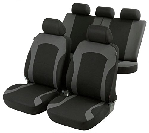Timon 64220, Sitzbezug Schonbezug Autositzbezug, Komplett Set, Schwarz, Grau