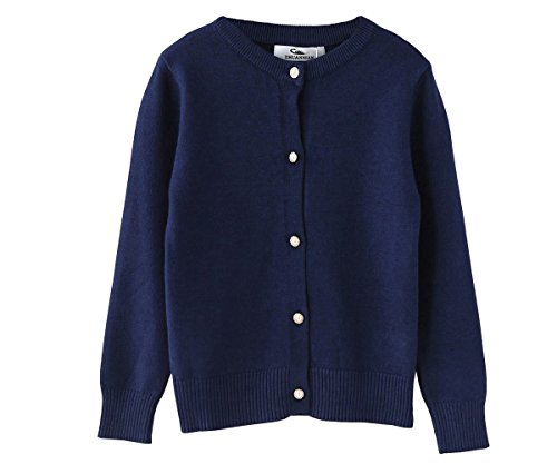 Zhuannian M?dchen Langarm Strickjacke Kinder Cardigan Sweater Mit Perle Knopf(104(3-4Jahren), Navy Blau) (4-knopf-strickjacke)