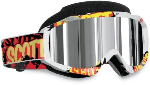 Scott USA Hustle Snowcross Goggles , Primary Color: White, Distinct Name: Banter/Silver Chrome Lens, Gender: Mens/Unisex 217784-2644015