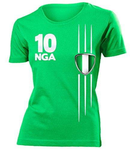 Nigeria Streifen 3304 Fussball Fanshirt Fan Shirt Tshirt Fanartikel Artikel Frauen Damen T-Shirts Grün L