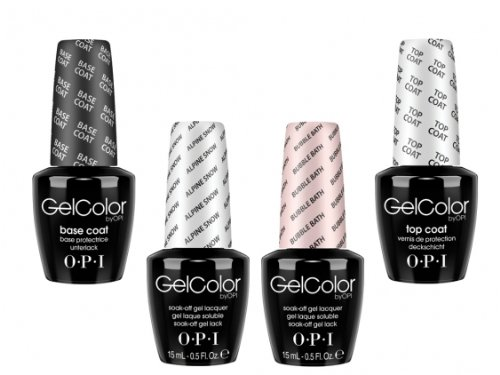 OPI gelcolor French Manicure Set Base & Top Coats, Schaumbad und Alpine Snow -