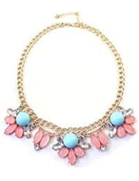 Doll Up New Choker Fashion Necklaces For Women 2014 Statement Vintage Crystal Stone Flowers Pendant Necklace