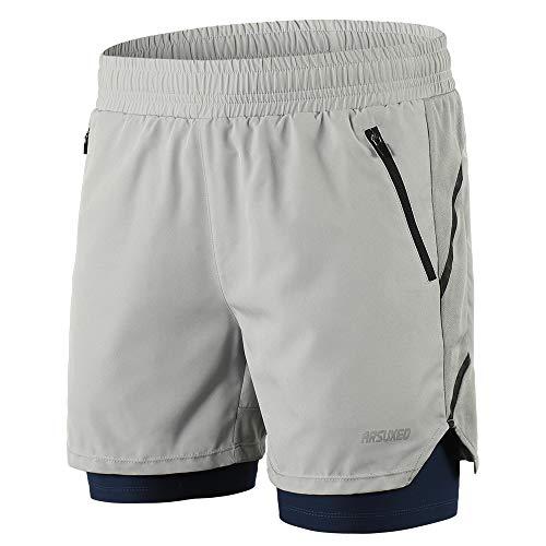 Festnight Pantalones Cortos Correr 2 1 Hombres Secado