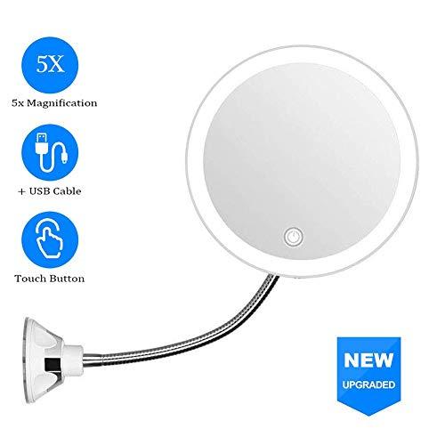 MRJ Kosmetikspiegel mit Schwanenhals, 5-fache Vergrößerung, LED-beleuchtet, mit starkem Saugnapf, 360 Grad drehbar, Tageslicht, USB-Kabel/batteriebetrieben, Reisespiegel, 20 cm
