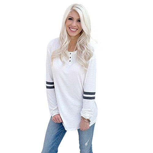 Letter Manches longues bouton col rond épissure pull chemise chemisier chemise Blanc