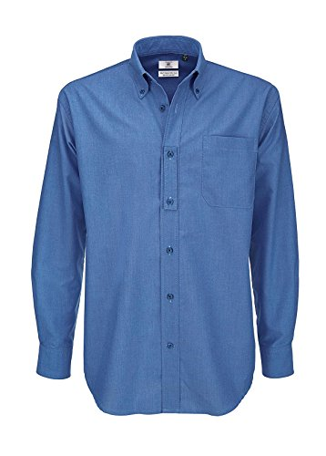 B&c oxford shirt, camicia casual uomo, blue (blue chip), xxxx-large
