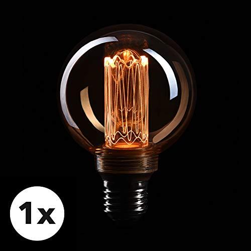 CROWN LED Edison Illusion Filament Glühbirne E27 Fassung, Dimmbar, 3,5W, 1800K, Warmweiß, 230V, EL21, Antike Filament Beleuchtung im Retro Vintage Look - Antike Esszimmer