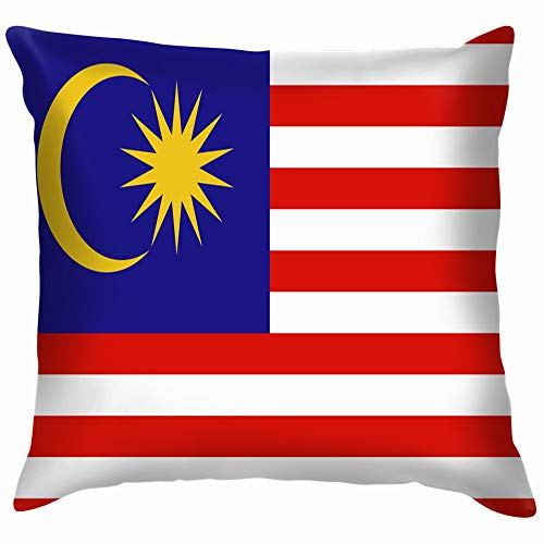 beautiful& Original Simple Malaysia Flag Isolated Education Throw Pillow Case Cushion Cover Pillowcase Watercolor for Couch 18X18 Inch