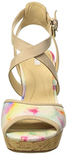 Geox D HERITAGE A, Sandales Plateau femme Multicolore (Taupe/Multicolore)