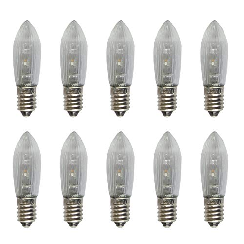 netSells® * LED Topkerze/Riffelkerze / Spitzschaftkerze * 10-55 V * 0,2 W * für innen * warmweiß * 10er Set * klar