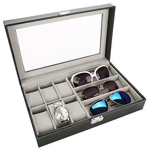 Betued Caja de Almacenamiento para Gafas de Sol, 9+3 Joyero Organizador Reloj Almacenamiento, Estuche Organizador para colector de Viaje Gafas de Sol y Estuche para presentación de Relojes